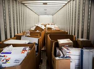 A shipment of H-1B visa petitions to a government processing center in Laguna Niguel, Calif., April 3, 2017. Possible changes to the program that allows technology companies to import foreign workers may be adding to an even heavier rush than usual this year. (Eros Hoagland/The New York Times)
