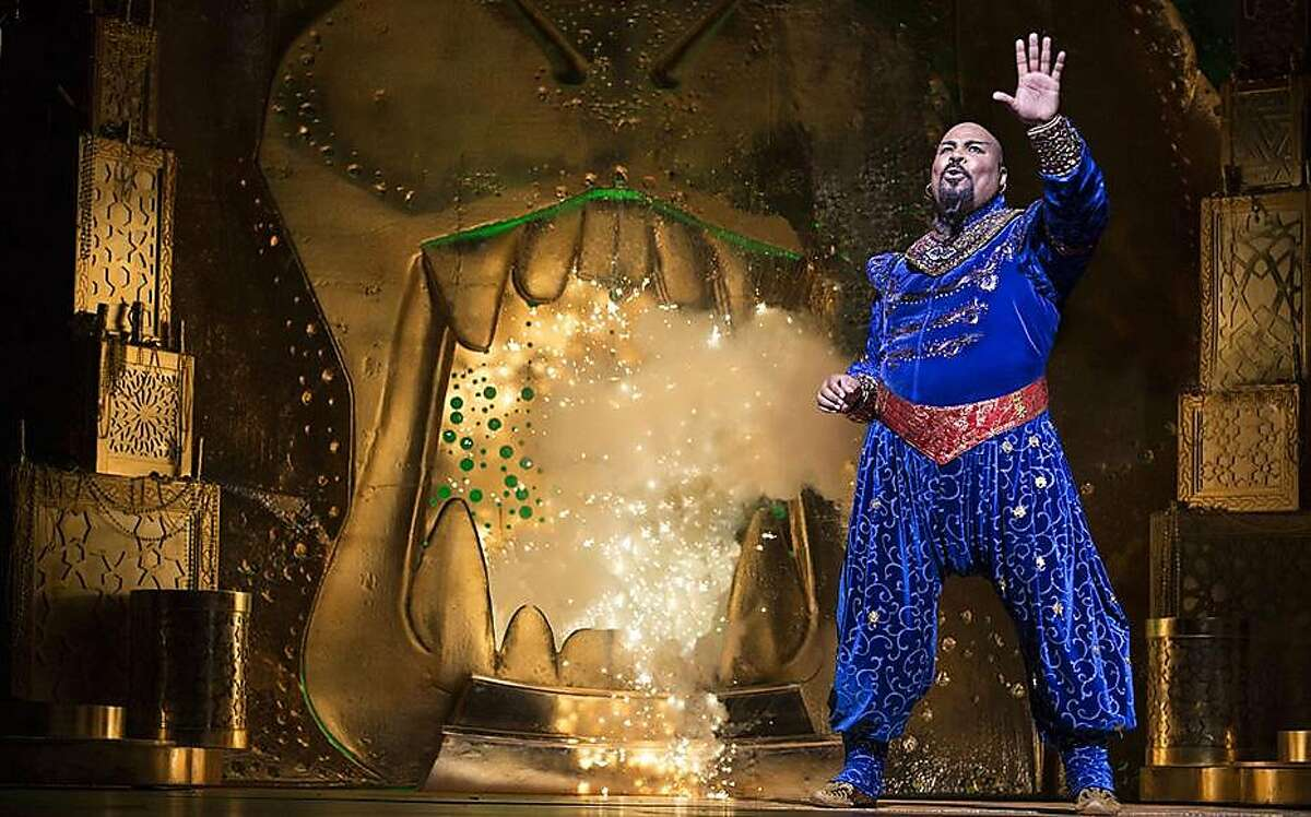 "James Monroe Iglehart as Genie in the original Broadway production of Disney's ""Aladdin."""