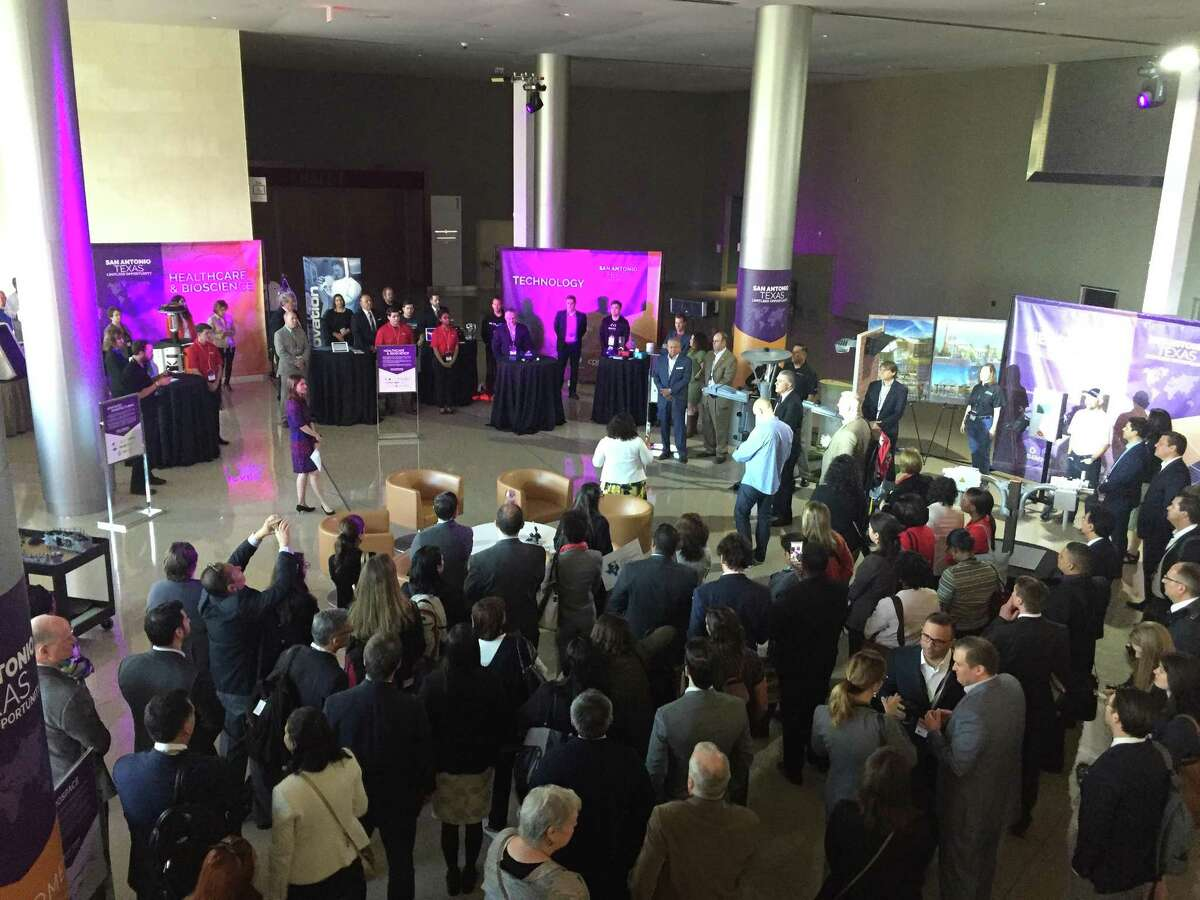 More than 50 international economic development leaders gathered Monday at the Convention Center to see exhibits highlighting San Antonio's target industries.