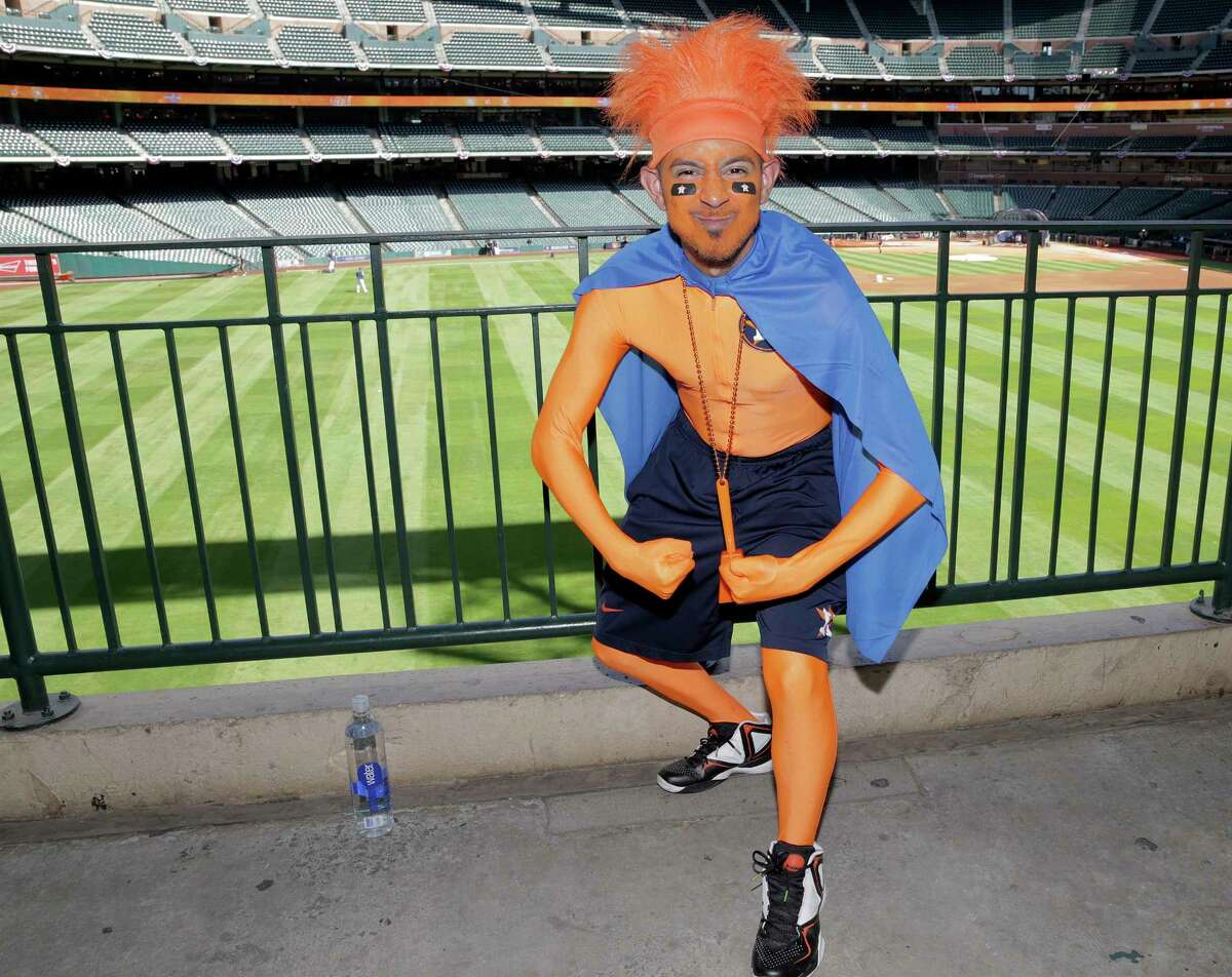 Carlos Delgado poses in his Opening Day outfit at Minute Maid Park before Astros take on the Seattle Mariners for the season opener on Monday, April 3, 2017, in Houston.