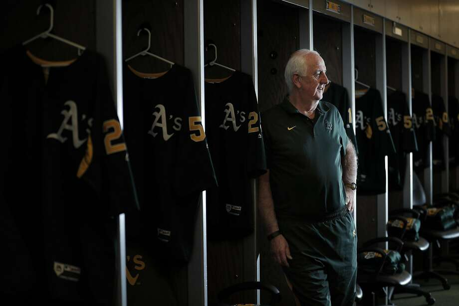 Steve Vucinich, A's equipment manager, in the club house prepping for opening day against the Angels at the Oakland Coliseum in Oakland, Calif., on Monday, April 3, 2017. Vucinich is entering his 50th season with the team, he started as a 15-year-old clubhouse attendant in 1968 when the A's first arrived in Oakland. Photo: Carlos Avila Gonzalez, The Chronicle