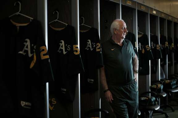 Steve Vucinich, A's equipment manager, in the club house prepping for opening day against the Angels at the Oakland Coliseum in Oakland, Calif., on Monday, April 3, 2017. Vucinich is entering his 50th season with the team, he started as a 15-year-old clubhouse attendant in 1968 when the A's first arrived in Oakland.