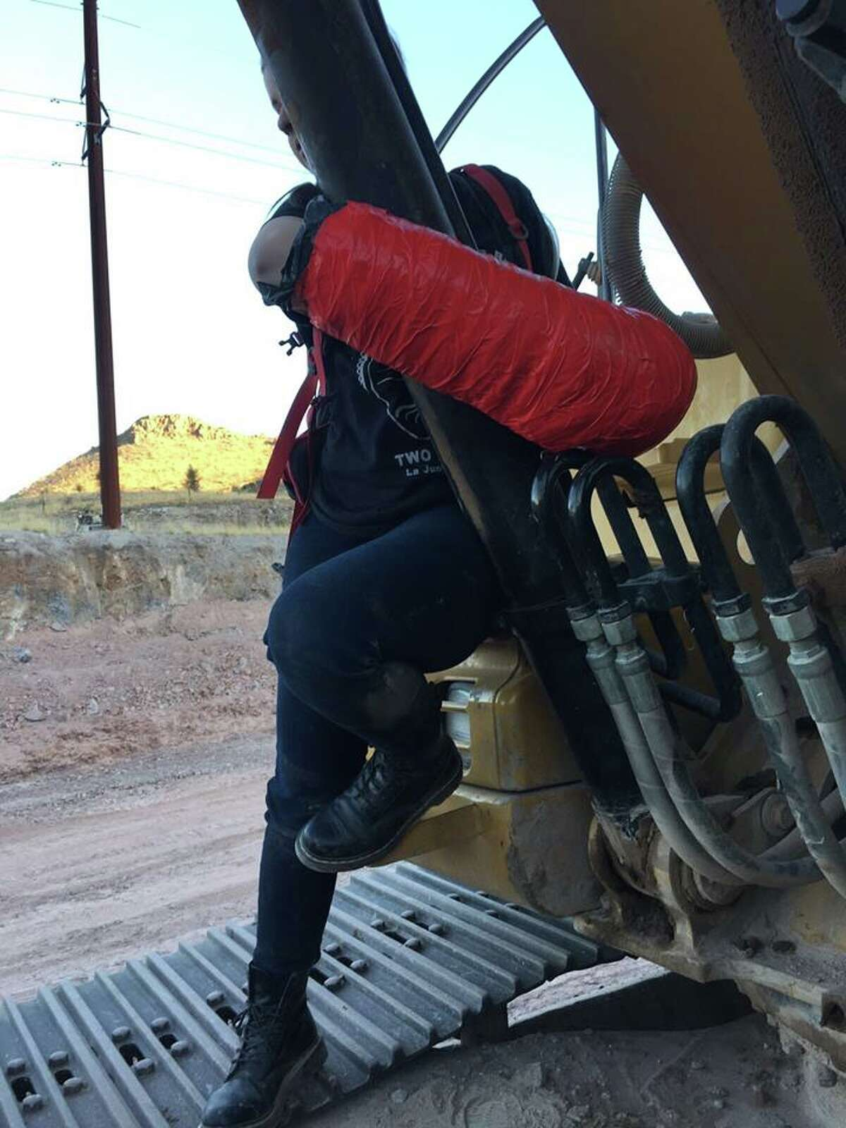 Presidio County deputies had to cut through wire mesh, rebar, concrete and plastic piping to remove a homemade cast attaching Anna Kruger, 21, to a Trans-Pecos Pipeline excavator on March 14, 2017. Courtesy of the Presidio County SheriffÂ?'s Office