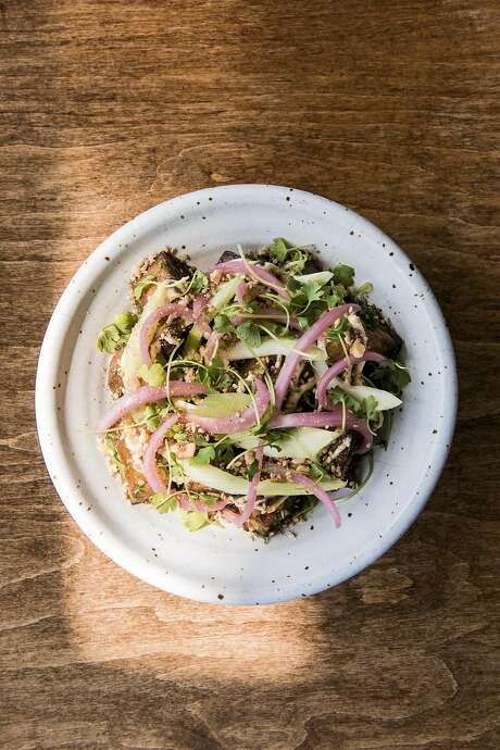 White yams, garlic butter, celery and dukkah made by Jeremy Fox at Rustic Canyon. Photo: Julia Stotz, Special To The Chronicle