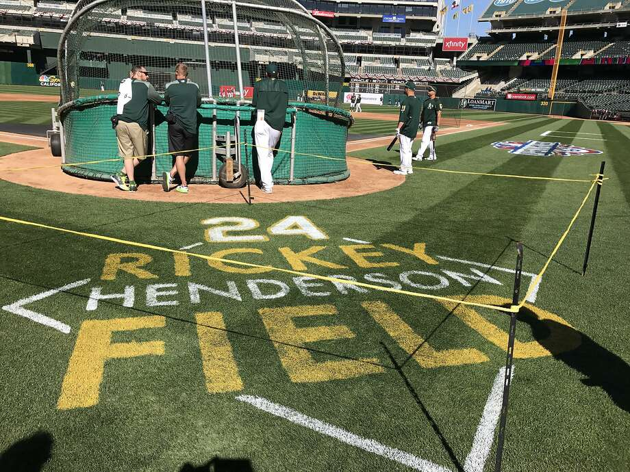 "The A's named the Coliseum's playing surface ""Rickey Henderson Field"" on Monday night. Photo: Susan Slusser, The Chronicle"