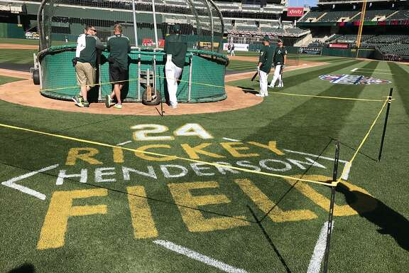 "The A's named the Coliseum's playing surface ""Rickey Henderson Field"" on Monday night."