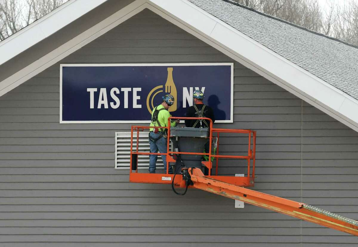 Renovation and expansion work continues to the Taste NY store on the Thruway westbound at Lock 13 on Monday, April 3, 2017, in Montgomery County near Fultonville, N.Y. State officials on Friday steadfastly defended a decision to do a major renovation and expansion of the store even though the existing facility is less than a year old. (Will Waldron/Times Union)