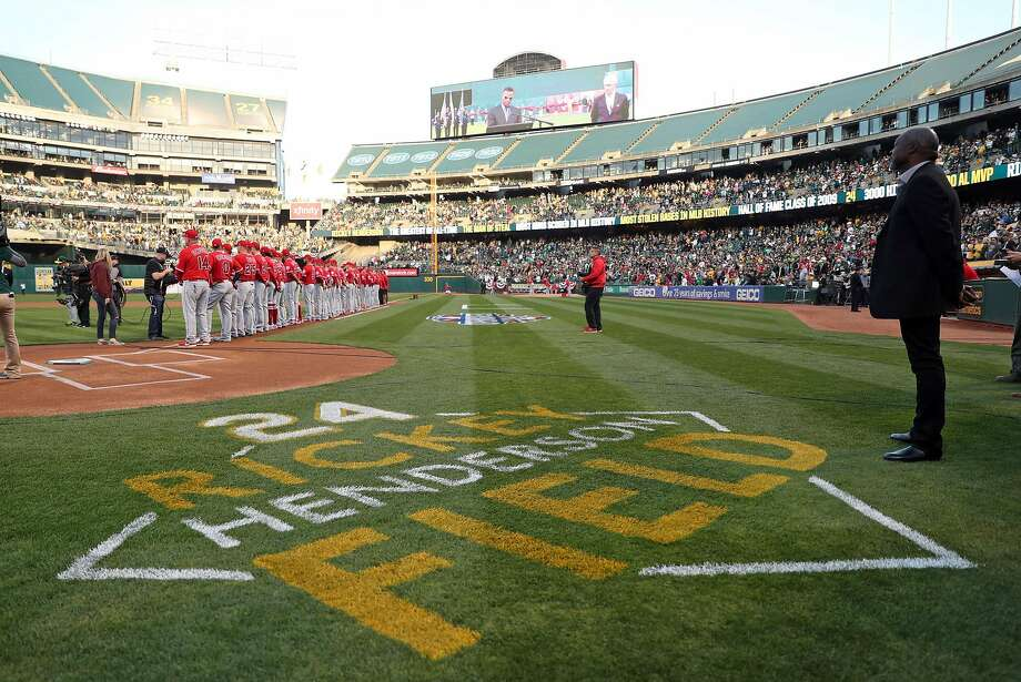 Oakland Athletics unveil Rickey Henderson Field before playing Anaheim Angels during home opener at the Oakland Coliseum in Oakland, Calif., on Monday, April 3, 2017. Photo: Scott Strazzante, The Chronicle