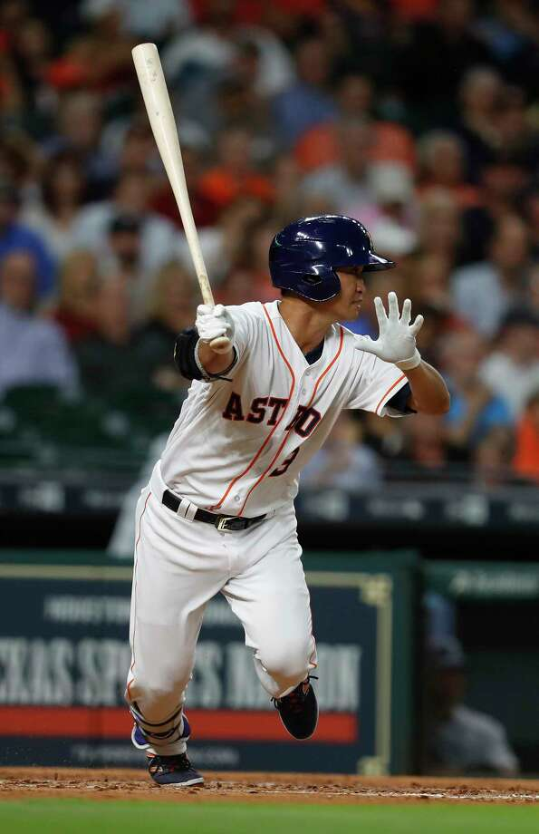 Offseason outfield acquisition Nori Aoki was a hit in his first at-bat as an Astro, singling off Mariners ace Felix Hernandez in the third inning. Photo: Karen Warren, Staff Photographer / 2017 Houston Chronicle