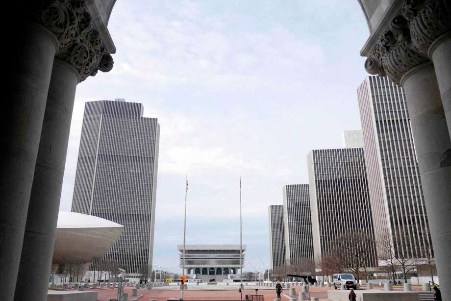 A view of the Empire State Plaza with the various agency buildings and the New York State Museum, seen from the entrance of the State Capitol on Monday, April 3, 2017, in Albany, N.Y.  (Paul Buckowski / Times Union) Photo: PAUL BUCKOWSKI / 20040129A