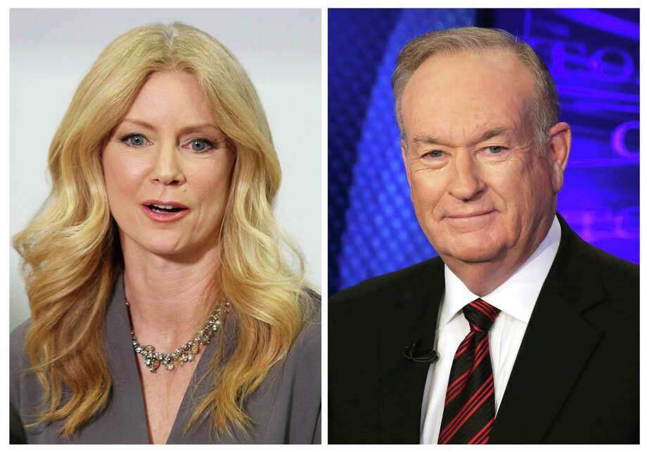 "In this combination photo, former Fox News contributor Wendy Walsh, left, appears at a news conference in the Woodland Hills section of Los Angeles on Monday, April 3, 2017, and Fox News personality Bill O'Reilly appears on the set of his show, ""The O'Reilly Factor"" on Oct. 1, 2015 in New York. Walsh says she lost a segment on ""The O'Reilly Factor"" after she refused to go to O'Reilly's bedroom following a 2013 dinner in Los Angeles. She's seeking an investigation by New York City's Commission on Human Rights. (AP Photo/Anthony McCartney, left, and Richard Drew) ORG XMIT: NYET130 / AP"