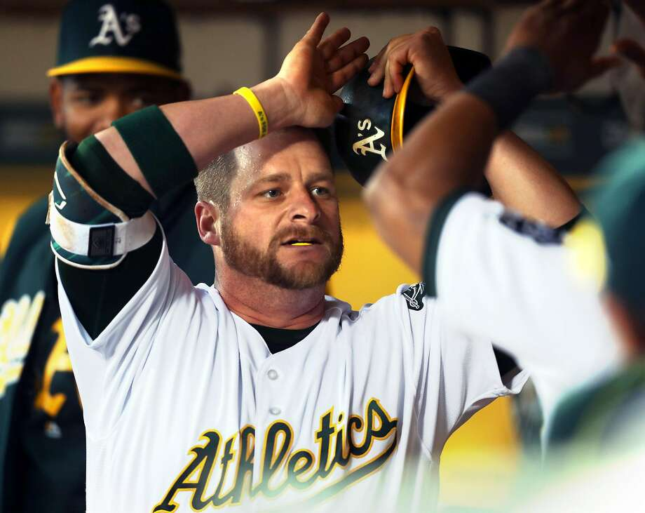 Oakland Athletics' Stephen Vogt celebrates his solo home run in 2nd inning against Anaheim Angels during A's home opener at the Oakland Coliseum in Oakland, Calif., on Monday, April 3, 2017. Photo: Scott Strazzante, The Chronicle