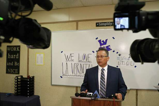 La Vernia Independent School District Superintendent Jose H. Moreno answers questions from the media during the board of trustees meeting held Monday April 3, 2017 at La Vernia High School in La Vernia, TX.