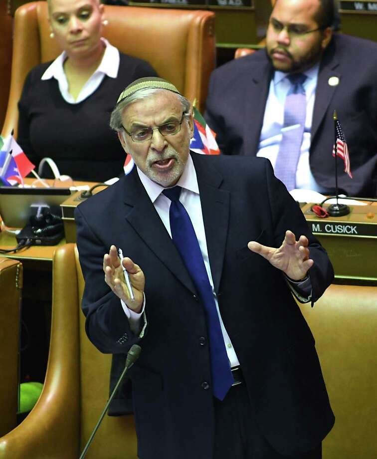 New York State Assembymember Dov Hikind, representing District 48, voices his opinion during a vote on a budget extender at the Capitol on Monday, April 3, 2017 in Albany, N.Y. (Lori Van Buren / Times Union) Photo: Lori Van Buren / 20040130A