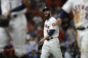 Houston Astros starting pitcher Dallas Keuchel (60) reacts after getting Seattle Mariners Leonys Martin on a bunt ground out in the seventh inning of the Houston Astros at Minute Maid Park, Monday, April 3, 2017, in Houston.  ( Karen Warren / Houston Chronicle )