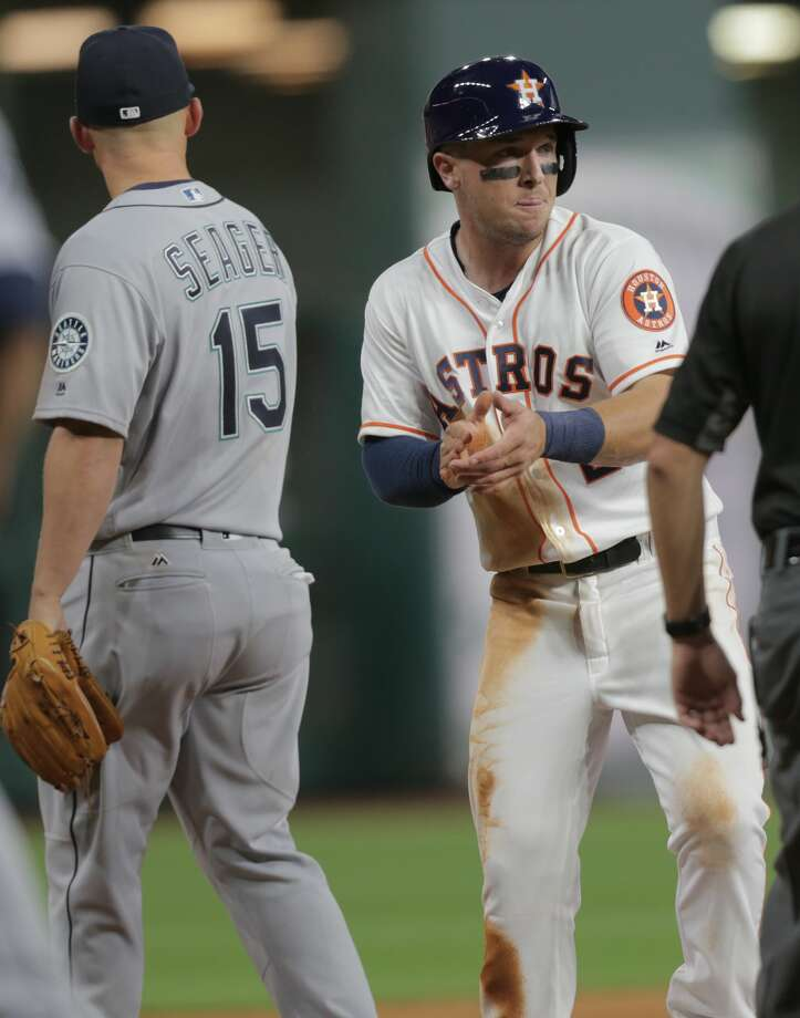 Alex Bregman was absent from the Astros' lineup for Thursday night's series finale against the Seattle Mariners with manager A.J. Hinch starting super utility man Marwin Gonzalez at third base and in the two-hole in his place. Photo: Elizabeth Conley/Houston Chronicle