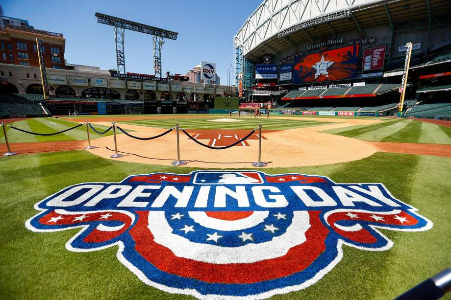 Opening Day logo behind home plate before the start of the Houston Astros opening day at Minute Maid Park, Monday, April 3, 2017.(Karen Warren /Houston Chronicle) Photo: Karen Warren