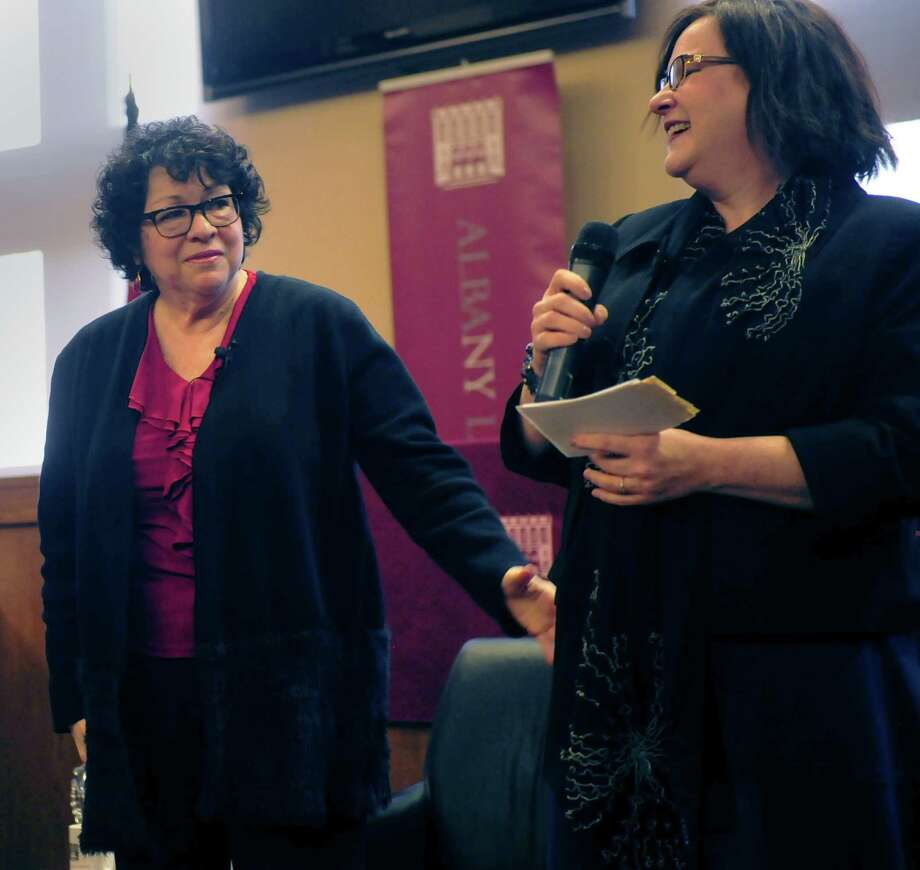 Supreme Court Justice Sonia Sotomayor speaks with professor Melissa Breger at Albany Law School in Albany, N.Y. on April 3, 2017. (Robert Downen/Times Union)