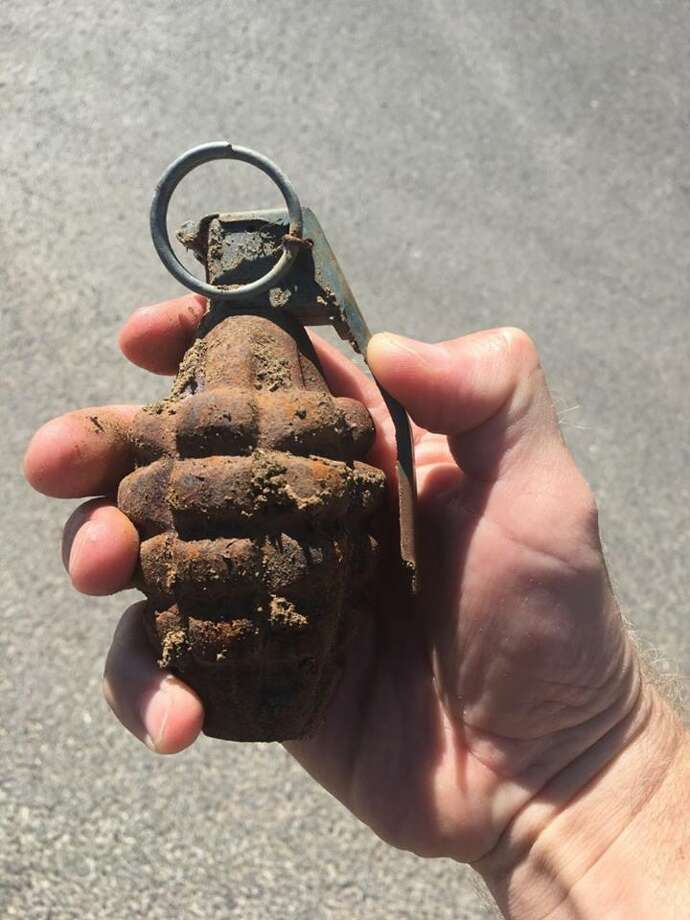 An old hand grenade was discovered by roadside crews Saturday afternoon along Interstate 680 near Parish Road in Benicia, officials said.