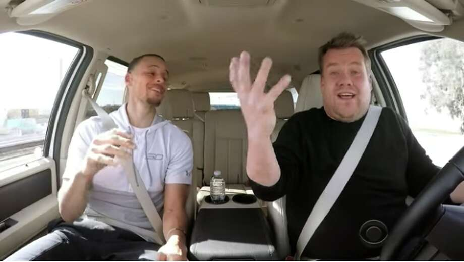 """Warriors star Steph Curry and """"Late Late Show"""" host James Corden sing together during a """"Carpool Karaoke"""" segment on April 3, 2017.  Photo: YouTube Screen Capture/CBS/Late Late Show"""