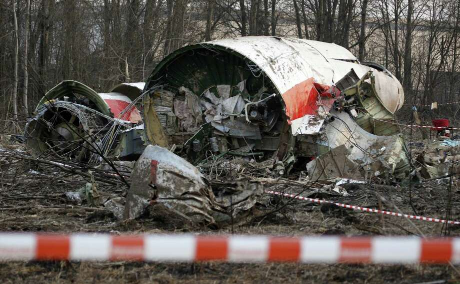 FILE - This Sunday April 11, 2010 file photo, shows the wreckage of the Polish presidential plane which crashed early Saturday in Smolensk, western Russia. Polish prosecutors allege Monday April 3, 2017, that a new analysis of evidence into the 2010 plane crash that killed Polish president Lech Kaczynski, shows that two Russian air traffic controllers and a third person in the control tower willingly contributed to the disaster, although they have withheld details of their evidence. (AP Photo/Sergey Ponomarev, FILE) Photo: Sergey Ponomarev, STF / Associated Press / AP2010