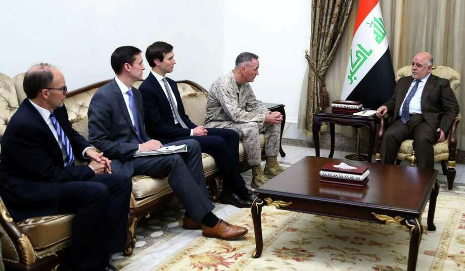 "CORRECTION - A handout picture released by the Iraqi prime minister's press office shows premier Haidar al-Abadi (C) meeting with members of US delegation Marine Corps Gen. Joe Dunford, the chairman of the Joint Chiefs of Staff, Jared Kushner, senior adviser to US President Donald Trump,  Tom Bossert, the US national security adviser and US ambassador Douglas Silliman. President Donald Trump's son-in-law Jared Kushner visited Iraq with the top US military officer to meet Iraqi leaders and review the fight against the Islamic State group, officials said. The visit comes as Iraqi forces battle to retake Mosul from IS with support from US-led air strikes that have recently been criticised for causing civilian deaths in the city's west.  / AFP PHOTO / IRAQI PRIME MINISTER'S PRESS OFFICE / Handout / RESTRICTED TO EDITORIAL USE - MANDATORY CREDIT ""AFP PHOTO / IRAQI PRIME MINISTER'S PRESS OFFICE"" - NO MARKETING NO ADVERTISING CAMPAIGNS - DISTRIBUTED AS A SERVICE TO CLIENTS   / The erroneous mention[s] appearing in the metadata of this Handout photo has been modified in AFP systems in the following manner: [Marine Corps Gen. Joe Dunford, the chairman of the Joint Chiefs of Staff, ] instead of [Gen Stephen Townsend]. Please immediately remove the erroneous mention[s] from all your online services and delete it (them) from your servers. If you have been authorized by AFP to distribute it (them) to third parties, please ensure that the same actions are carried out by them. Failure to promptly comply with these instructions will entail liability on your part for any continued or post notification usage. Therefore we thank you very much for all your attention and prompt action. We are sorry for the inconvenience this notification may cause and remain at your disposal for any further information you may require.HANDOUT/AFP/Getty Images Photo: HANDOUT / AFP/Getty Images / AFP"