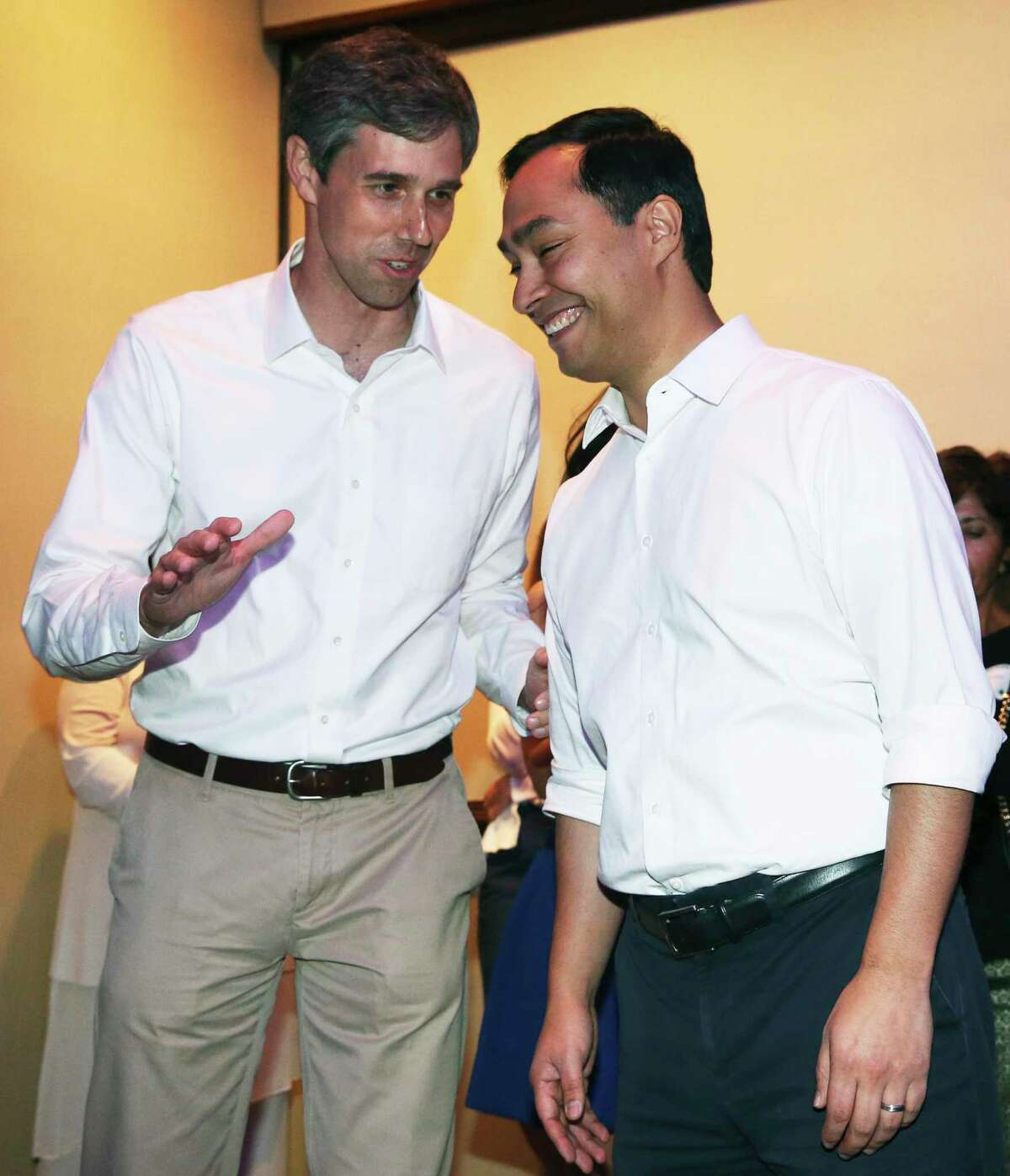 Back in 201U.S. Congressmen Joaquin Castro and Beto O'Rourke share an exchange April 1, 2017. A reader says the congressmen are teaming up against Trump simply to boost their popularity and their campaigns.