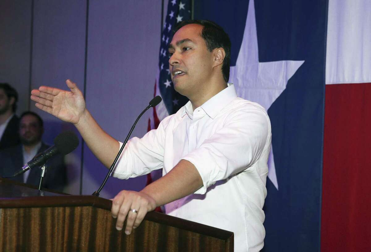 U.S. Congressmen Joaquin Castro speaks before he and Beto O'Rourke meet Saturday evening at a DNC reception at the Stephen F. Austin Hotel in Austin on April1, 2017.