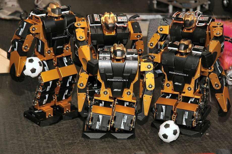 Soccer-playing robots are one of the varieties of robots competing in 50 events at the RoboGames in Pleasanton. Photo: RoboGames