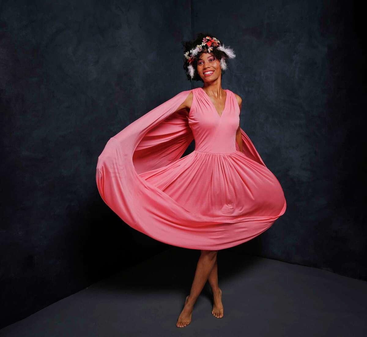 Orchid: Celine infinite dress, $2,800, Saks Fifth Avenue; Alexis Berger glass flower crown, $2,500, alexisberger.com.