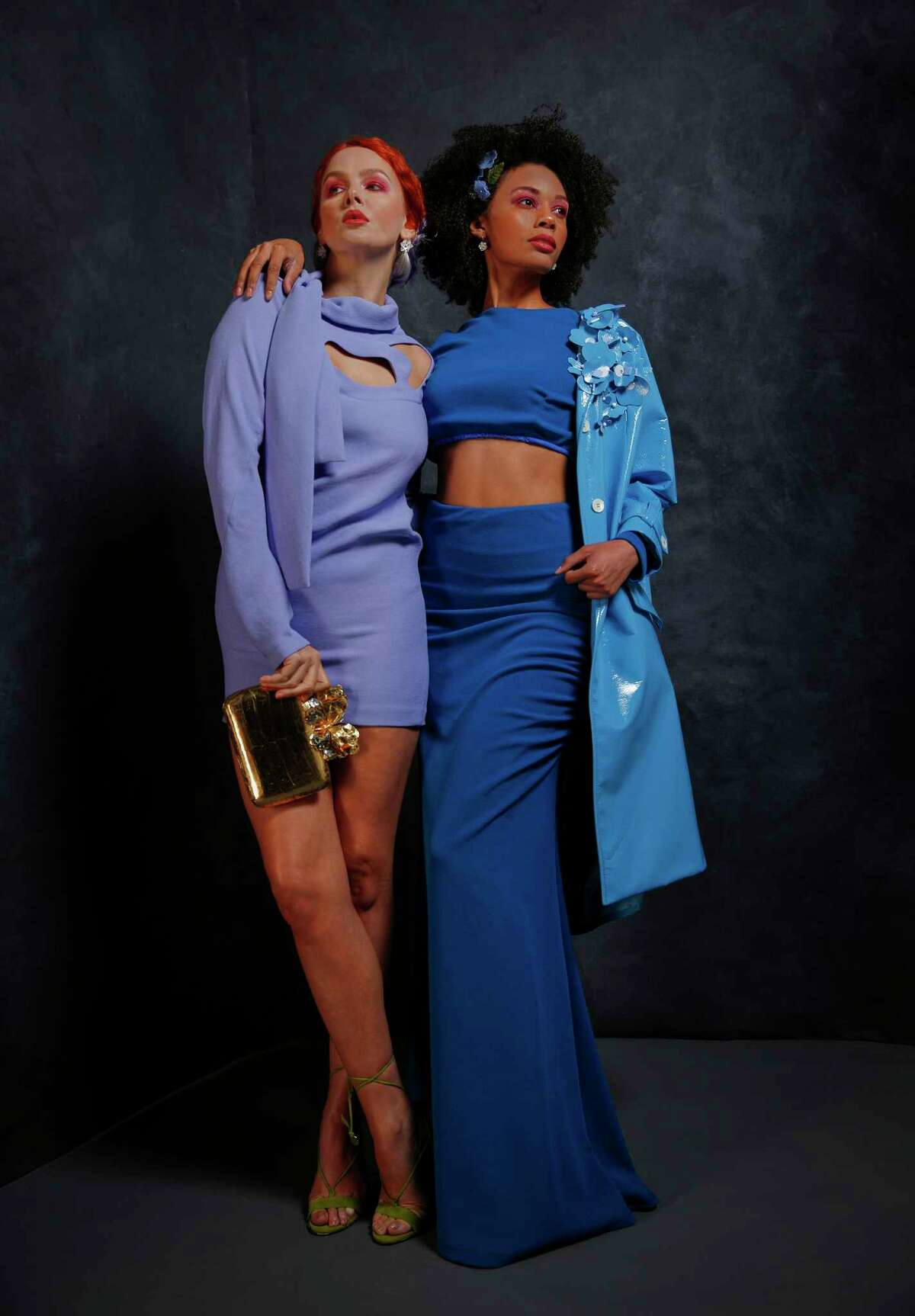 Hydrangea: Miu Miu raincoat, $3,345, Saks Fifth Avenue. Lilac: Celine tunic, $2,350, Saks Fifth Avenue. Nancy Gonzales butterfly clutch, $2,750, Saks Fifth Avenue.