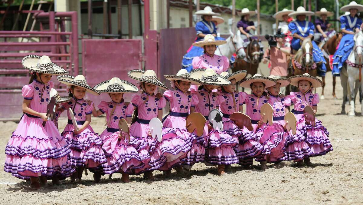 Members of the Escaramuza Charra La Riberena, from Miguel Aleman, Tamaulipas, Mexico, perform during the Day in Old Mexico and Charreada held Sunday April 24, 2016 at the San Antonio Charro Ranch.