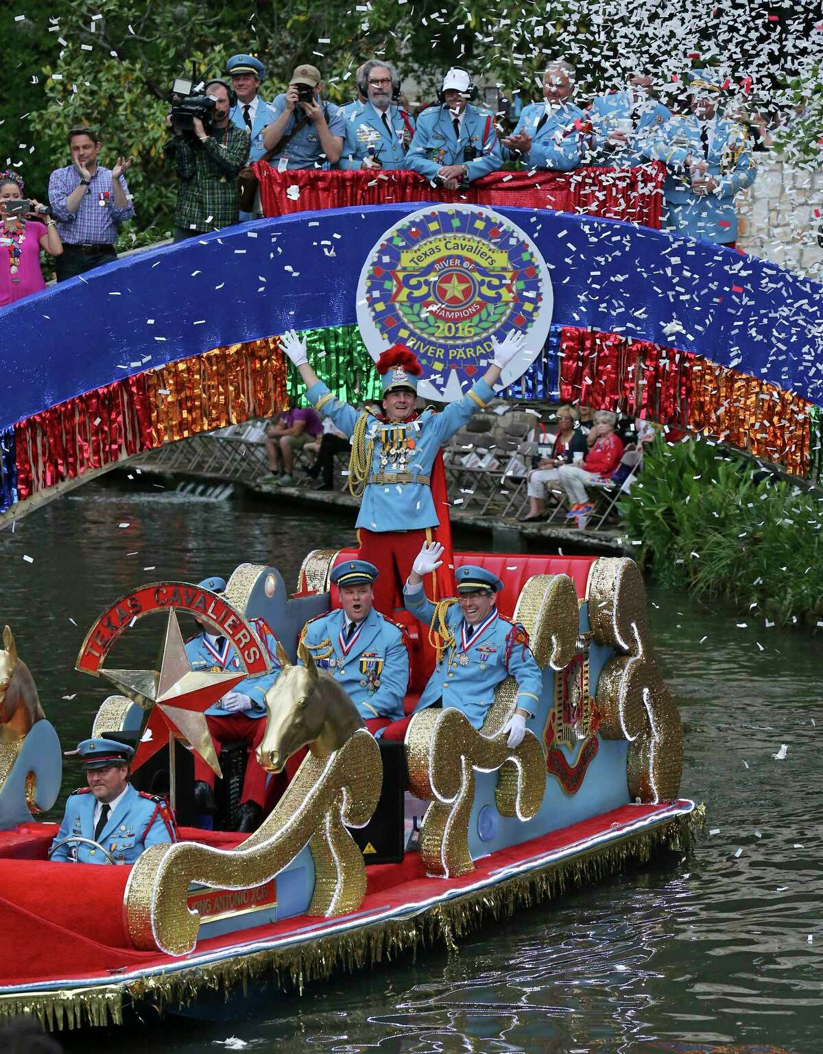 "King Antonio XCIV R. Hunt Winton III enters the Arneson River Theatre at La Villita during the 2016 Texas Cavaliers River Parade ""River of Champions"" Monday April 18, 2016."