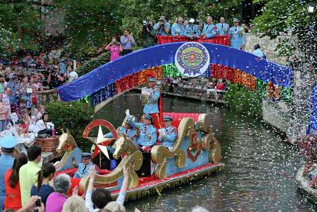 "King Antonio XCIV R. Hunt Winton III enters the Arneson River Theatre at La Villita during the 2016 Texas Cavaliers River Parade ""River of Champions""  Monday April 18, 2016."