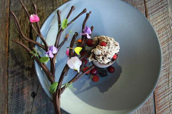 Chef Hugo Ortega and restaurateur Tracy Vaught of H Town Restaurant Group have open Xochi, a new restaurant in the Marriott Marquis Houston in January 2017. Xochi's menu will focus on the food and drink of Oaxaca, Mexico. Shown: Pastry chef Ruben Ortega's Cremoso de Chocolate dessert