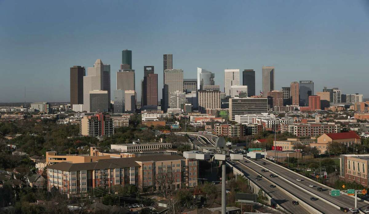 The city skyline in daylight hours from the 18th floor of The Carter in the Museum District.