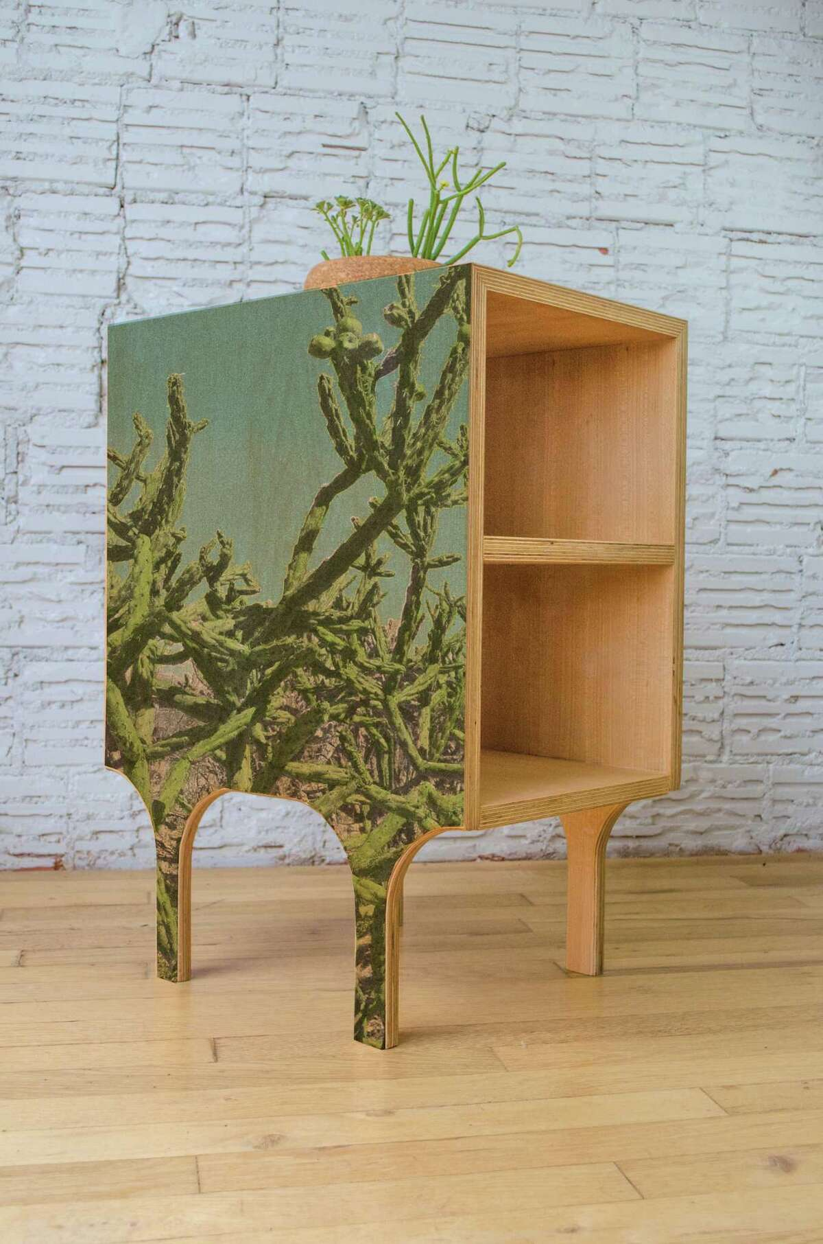 Jeff Kaplan and Melissa Eason's new line of all-natural modern furniture incorporates images of desert cactus.