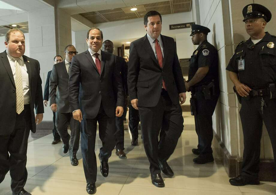 Egyptian President Abdel Fattah el-Sisi (left) with Rep. Devin Nunes, House Intelligence Committee chair. Photo: SAUL LOEB, AFP/Getty Images