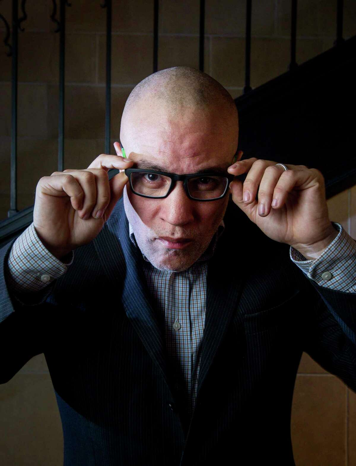 Mat Johnson poses for a portrait before his event with author Zadie Smith in January.