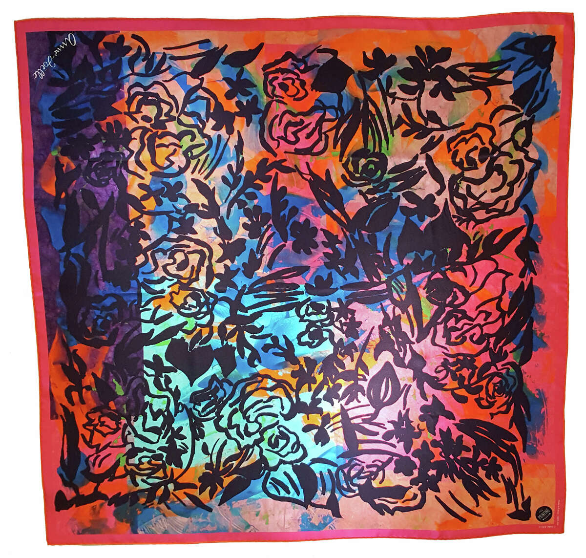 Houston artist Anne-Joelle Galley designed this scarf from a print she created at the Printing Museum with resident artist Charles Criner to benefit restoration efforts at the 35-year old institution, which is still recovering from a May 2016 fire that caused significant damage to the premises and its research library.