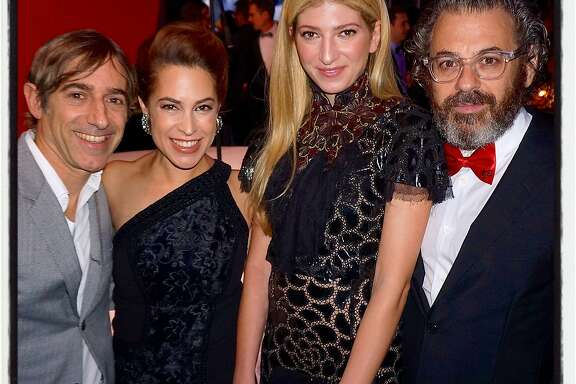 BAMPFA co-chairs Mark and Alison Pincus (left) with gallery dealer Sarah Hoover and her husband, artist Tom Sachs. Jan 2016.