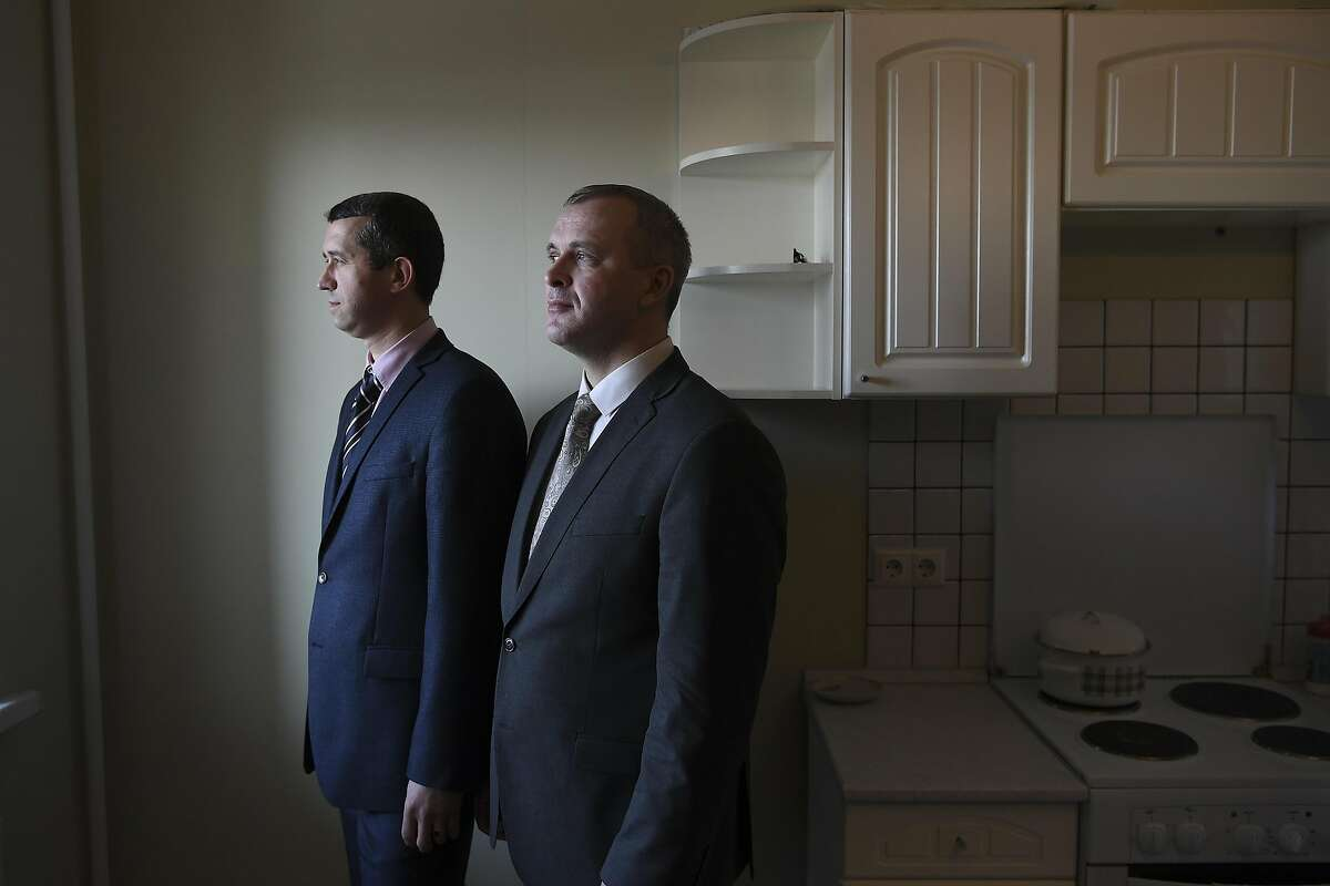 Vyacheslav Stepanov, left, and Andrei Sivak, elders in the area's Jehovah's Witnesses community, at a home in Sergiyev Posad, Russia, March 14, 2017. The two, despite already having been tried and found not guilty of extremism, are facing renewed charges, and a Justice Ministry review of documents at the Christian denomination's center in St. Petersburg concluded that they violate a Russian law banning extremism. (James Hill/The New York Times) -- NO SALES