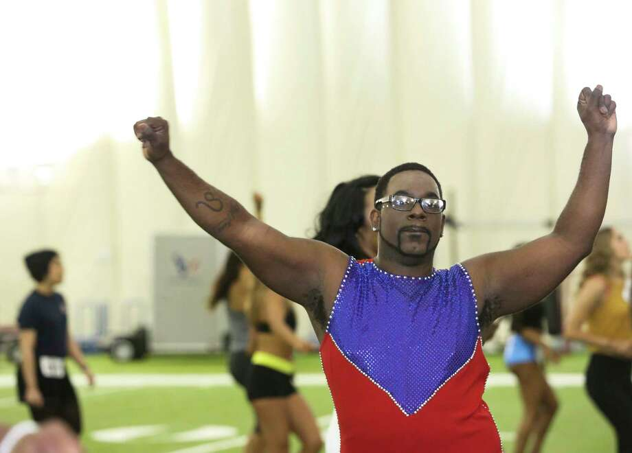 Donnie Johnson, 30, dances freestyle at the beginning of the Houston Texans Cheerleader Tryouts Saturday, April 1.  Photo: Yi-Chin Lee, Houston Chronicle / © 2017  Houston Chronicle