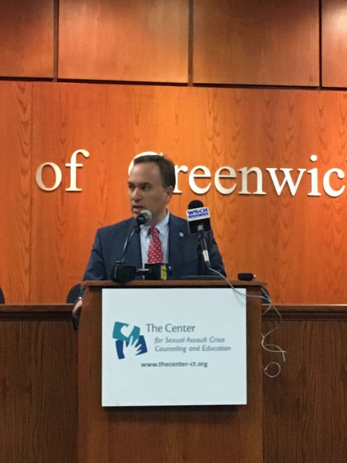 """Greenwich First Selectman Peter Tesei joined officials from other towns as well as state legislators to declare April """"Sexual Assault Awareness Month"""" in Greenwich on April 4. Photo: Emilie Munson"""