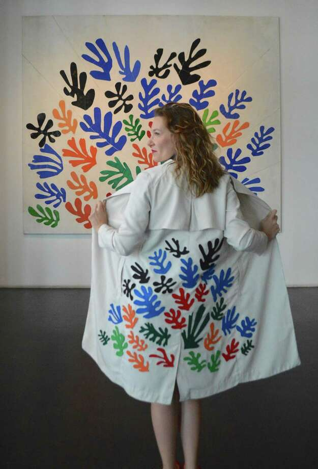 Artfully Awear owner Ariel Adkins shows off her fashion coat that mimicks Henri Matisse, La Gerbe, 1953 at the Los Angeles County Museum of Art, Los Angeles, CA; February 4, 2017. Photo by Rose Lawrence. Photo: Contributed Photo /@artfullyawear / @artfullyawear