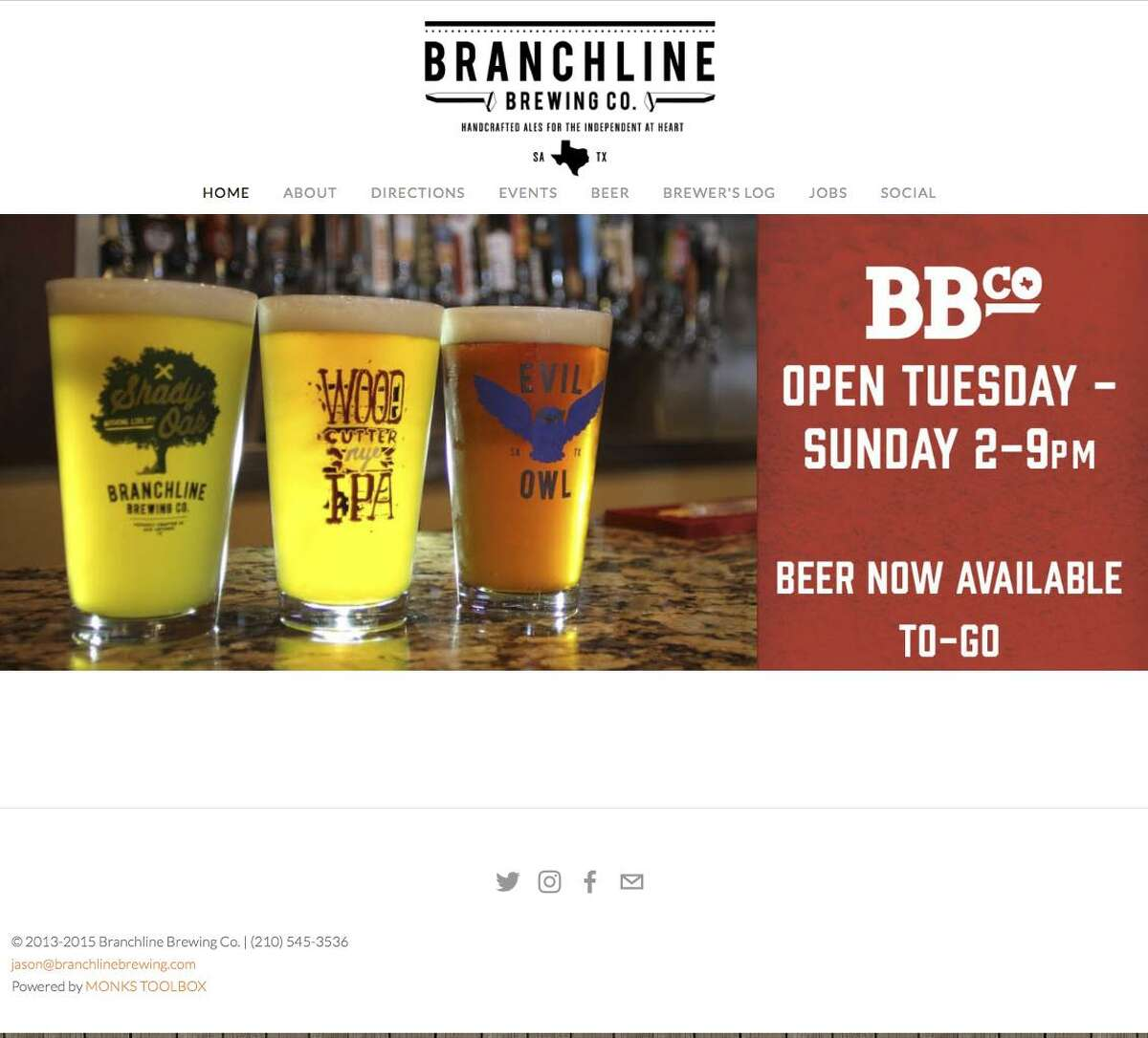A screengrab of Branchline Brewing Co.s website. The company filed for Chapter 11 on Tuesday.