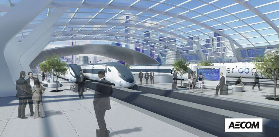 The proposal for a Hyperloop between Houston, San Antonio, Austin and Dallas would include stops, similar to trains stations, in the metro areas, as shown in these renderings by AECOM. Photo: Rendering Courtesy AECOM