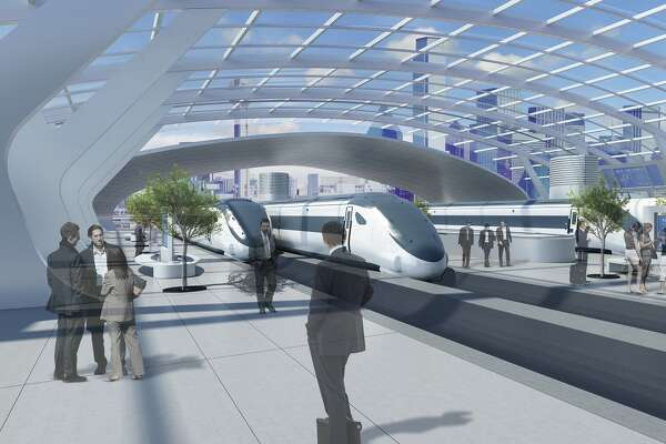 The proposal for a Hyperloop between Houston, San Antonio, Austin and Dallas would include stops, similar to trains stations, in the metro areas, as shown in these renderings by AECOM.