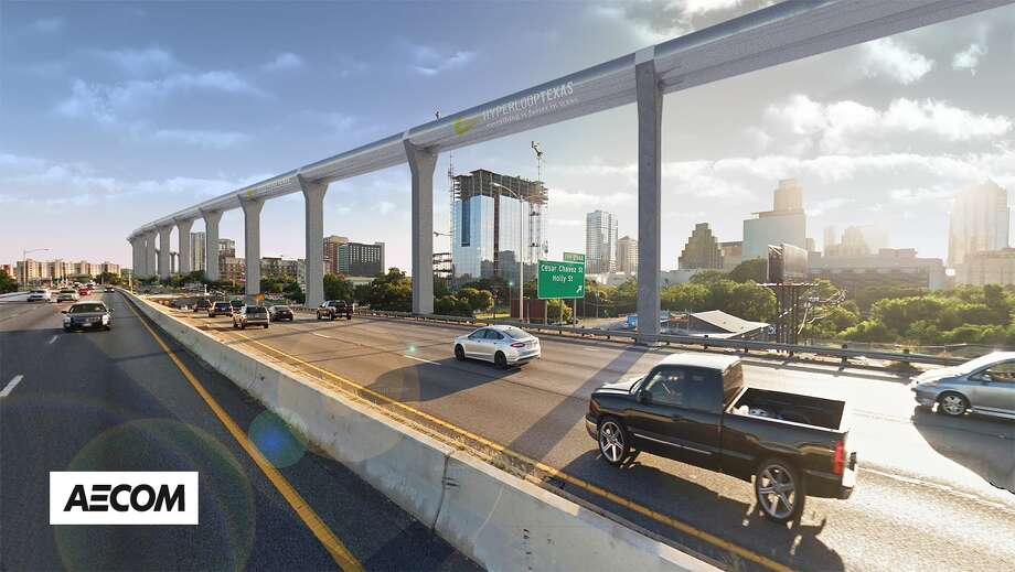 The Hyperloop Texas proposal would run above-ground and along existing rights of way, such as highways. Photo: Rendering Courtesy AECOM