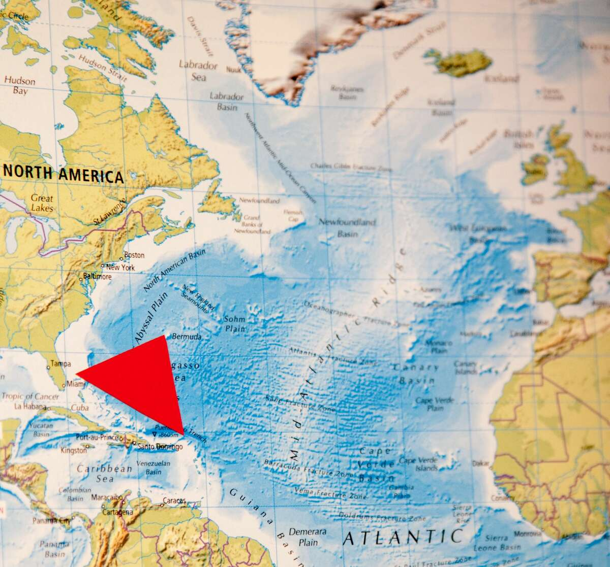 Bermuda Triangle This map shows the imaginary Bermuda Triangle, which extends roughly from Miami, Fla., to the islands of Puerto Rico and Bermuda. Stories of lost ships in the area date back to the 1600s, but the term